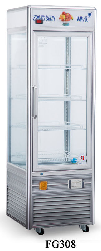 Single Temperature Refrigerated Cake Display Cabinets 308L Four - Sides Tempered Glass Aluminium Frame
